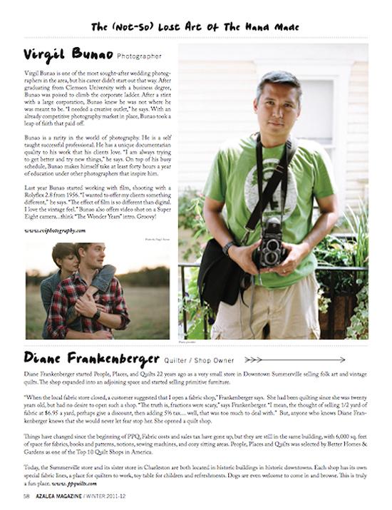 Charleston Wedding Photographers Virgil Bunao Featured in Azalea Magazine